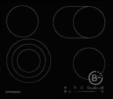 Электрическая варочная поверхность Kuppersberg - Электрическая,  Электричекая независимая стеклокерамическая варочная поверхность, ширина 60 см, 4 зоны ускоренного нагрева HI-Light, 1 зона с тройным расширением, 1 зона с двойным расширением, сенсорное упр