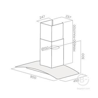 Вытяжки JET AIR - Вытяжки JET AIR/ Декоративный дизайн, гнутое стекло, 90 см, кнопочное управление, 700 куб. м. , черная