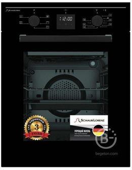 Встраиваемые электрические духовки Schaub Lorenz - 59.5х45x61 см, 45л, 6 режимов работы, механические переключатели, цифровой таймер с напоминанием, панель управления-черная эмаль, черное стекло дверцы духовки