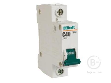 Автоматический выключатель 1*40A BA-101 (C) 4.5kA DEKraft