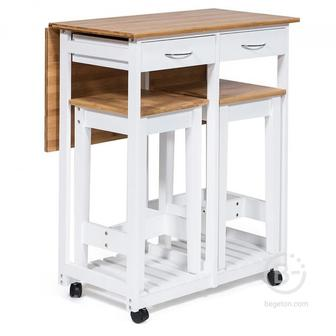 Стол кухонный с табуретом, 67х74х82см, табурет: 28.5х28.5х550см, цвет белый, дерево