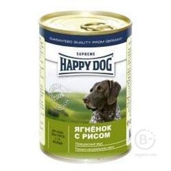 Хэппи Дог консервы для собак кусочки в фарше Ягненок/рис.