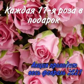 Каждая 11-я роза в букете в ПОДАРОК!