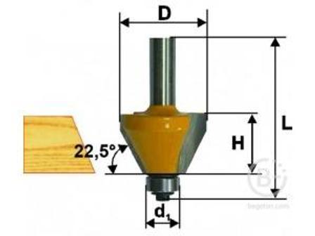 Фреза Энкор кромочная конусная (25.4х11 мм; 45°; хвостовик 8 мм) по дереву 9234 кромочная конусная (25.4х11 мм; 45°; хвостовик 8 мм) по дереву 9234