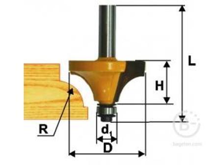 Фреза Энкор кромочная калевочная (50.8х25.4 мм; R 19 мм; хвостовик 12 мм) по дереву 10547 кромочная калевочная (50.8х25.4 мм; R 19 мм; хвостовик 12 мм) по дереву 10547