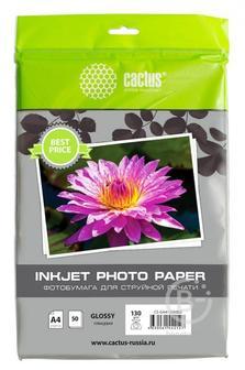 Фотобумага Cactus CS-GA413050ED A4, 130г/м2, 50л, белая глянцевая для струйной печати