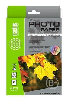 Фотобумага Cactus CS-MA523050 A5, 230г/м2, 50л, белая матовая для струйной печати