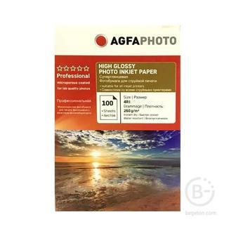 Фотобумага 4R(13х18), 260 г/м2, 100л, САТИН,коробка AGFA