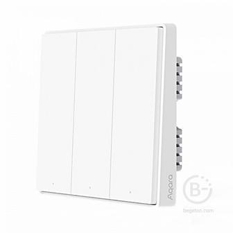 Выключатель Умный выключатель Xiaomi Aqara Wall Switch Triple Key D1 (тройной, встраиваемый, с нулевой) QBKG26LM