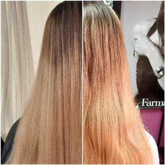 Ботокс волос ; кератиновое выпрямление , востановление. Сложное окрашивание . Наращивание волос