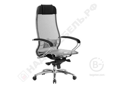 Кресло офисное МЕТТА SAMURAI S-1 серое, сверхпрочная ткань-сетка