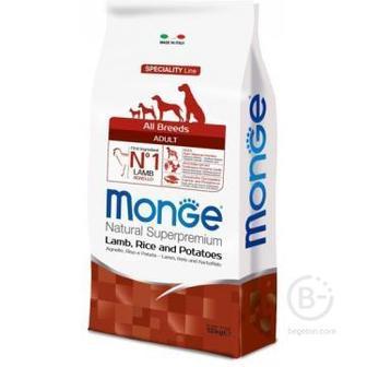 Сухой корм Monge Dog Speciality для собак всех пород ягненок с рисом и картофелем