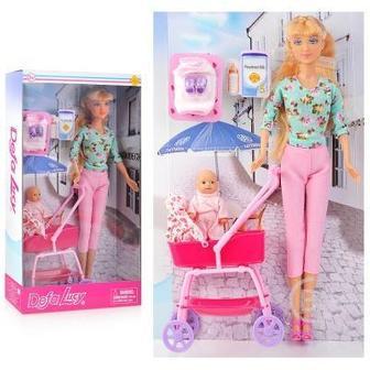 Кукла 8358 Defa Lucy с пупсом в коляске и аксесс.в кор.18х32х6,5см