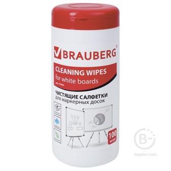 Чистящие салфетки для маркерных досок, в тубе 100 шт., влажные, BRAUBERG
