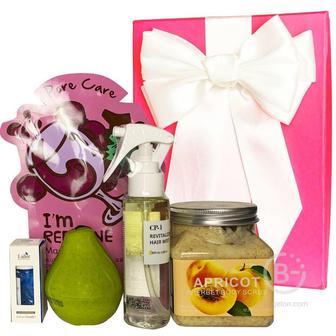 Подарочный набор косметики для волос и тела Asmetika Apricot & Wine