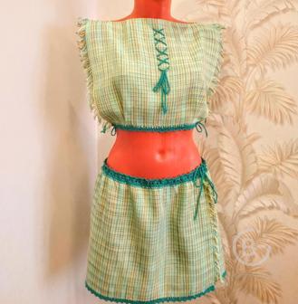 Комплект (топ и юбка) тканый на лето из мерсеризированного хлопка