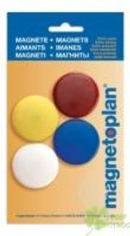 Магниты сигнальные, d=40мм, 4шт.|уп., разноцветные, в блистере