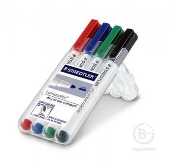 Маркер для досок Lumocolor Compact 1-2мм,набор 4цв,Staedtler