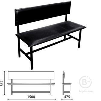 Банкетка со спинкой «Берта» 1500 мм, усиленная, черный каркас, кожзам черный