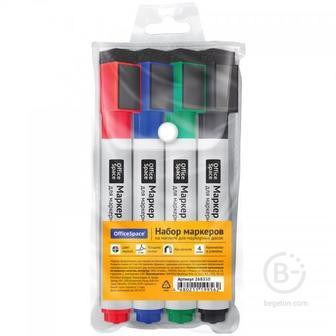 Набор маркеров для белых досок на магнитах, с губкой  OfficeSpace, 4цв., пулевидный, 3мм, чехол с европодвесом