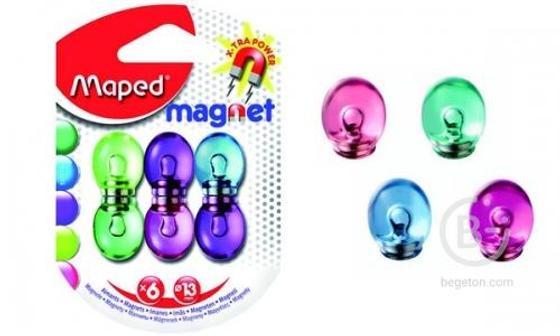 Магниты для магнитной доски, MAPED, усиленные, полупрозрачные , D13 мм, цвет ассорти