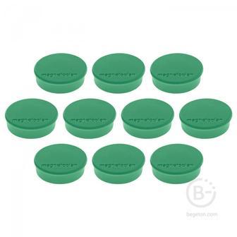 Магниты Hobby,d=25х8мм,сила 0,3кг,10шт./уп.,зеленые,карт.уп.