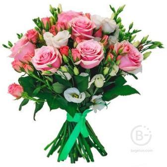 Розы 9 шт, эустома 4 шт, розы кустовые 2 шт