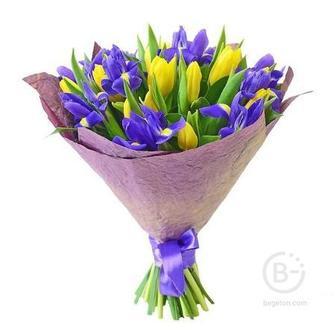 Тюльпаны 11 шт, ирисы 8 шт, зелень, упаковка