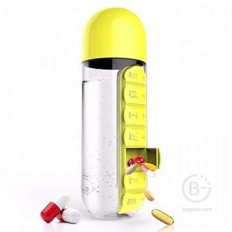 Таблетница с бутылкой (Желтый)