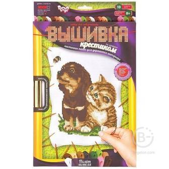 """Набор для творчества """"Набор для вышивания крестиком по номерам» (Щенок и котенок)"""