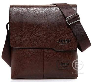 Мужская сумка Jeep Buluo + клатч Jeep Buluo (Тёмно-коричневый)