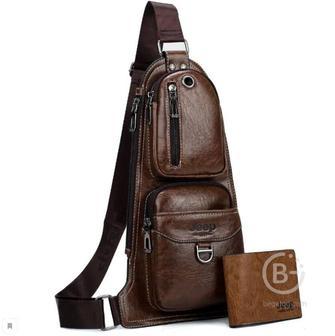 """Мужская сумка через плечо """"Jeep Buluo"""" (Темно-коричневый)"""