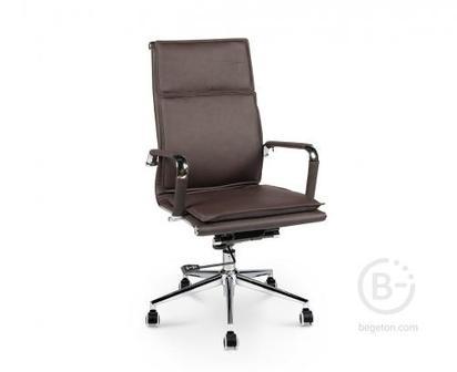 Кресло NORDEN Харман, (brown) хром, темно- коричневая экокожа, премиум (H-101-322)