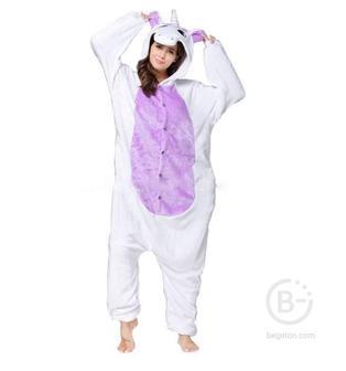 Пижама Кигуруми Единорог Бело-фиолетовый (S 150-158 см.)