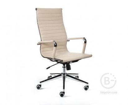 Кресло NORDEN Техно, хром, слоновая кость экокожа, премиум (H-100-70-5)