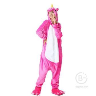 Пижама Кигуруми Единорог Розово-белый (S 150-158 см.)