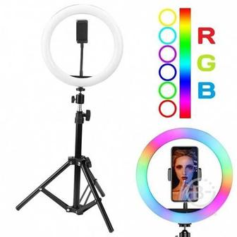 Кольцевая лампа цветная со штативом RGB (33 см)