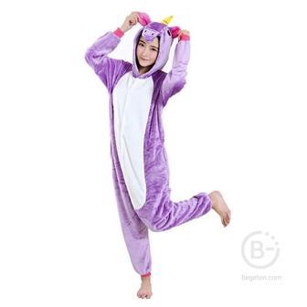 Пижама Кигуруми Единорог Фиолетовый (XL 178-188 см.)