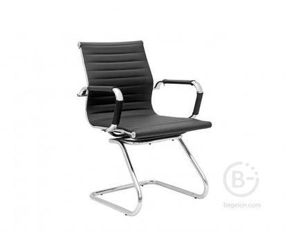 Кресло NORDEN Техно CF, хром, черная экокожа, премиум (HB-100)