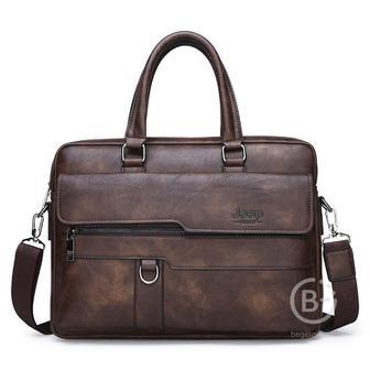 Мужская сумка портфель Jeep Buluo (Тёмно-коричневый)
