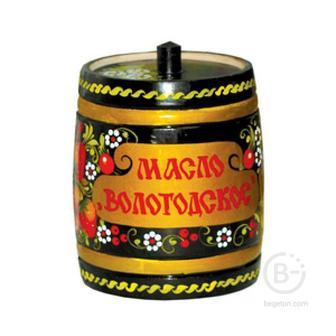 Вологодское масло 82,5% 800 гр в бочонке Роспись ВМК