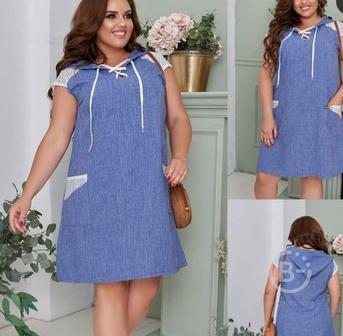 Повседневное льняное платье миди р-ры 50-60