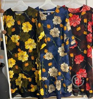 Шифоновое платье цветами р-ры 50-66