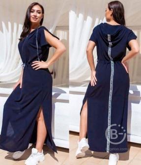 Длинное свободное платье с капюшоном р-ры 50-58