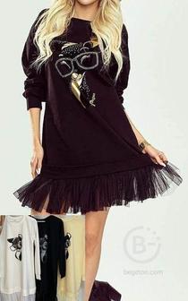 Оригинальное трикотажное платье с принтом р-ры 46-52