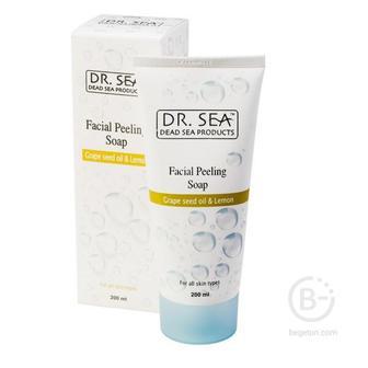 Пилинг для лица без содержания мыла Dr.Sea с виноградными косточками и лимоном 200мл