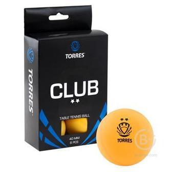 Мяч для настольного тенниса TORRES Club 2 звезды 6шт. в упаковке оранжевый
