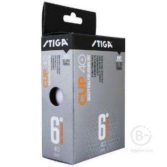 Мяч для настольного тенниса Stiga Cup ABS, диам.40+мм, 6 шт, белый
