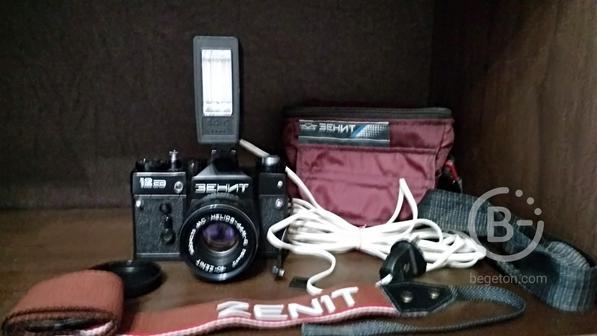 Фотоаппарат Зенит 12сд + фотовспышка + ориг. сумка