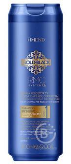 Шампунь с кератином для восстановления поврежденных волос, 300 мл/ Capillary Mass and Keratin Repositioning Shampoo Gold Black RMC System Q+, Amend (Аменд)